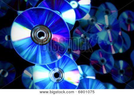 Discs on black background
