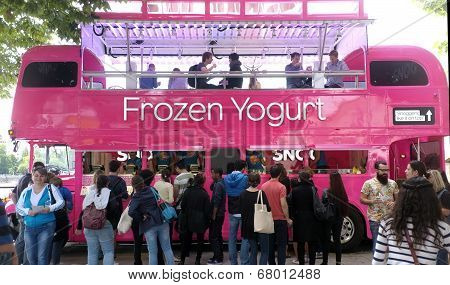 Pink yoghurt bus