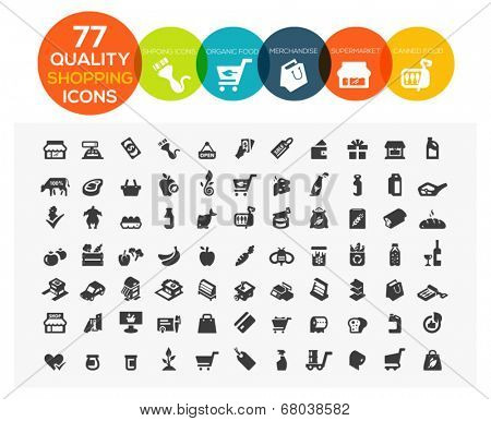 set of 77 high quality supermarket, shopping and online shopping icons including organic food, merchandise, meat, drink and more