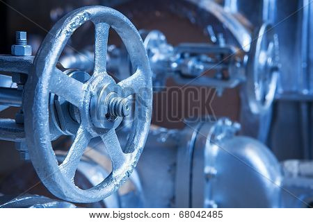 Close-up of industrial gate valve