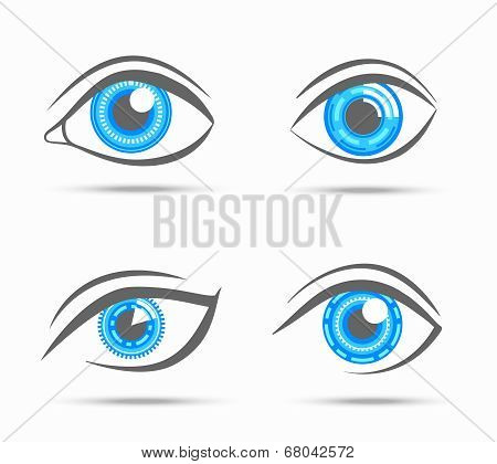Decorative cyber robot digital look vision optic eyes set isolated vector illustration poster
