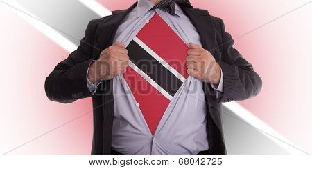 Business Man With Trinidad And Tobago Flag T-shirt