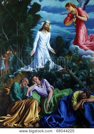 PARMA, ITALY - MAY 01, 2014: Agony in the garden, altar painting in the church of Saint Vitale. The church of St Vitale is located in the historic center of Parma, not far from City Hall