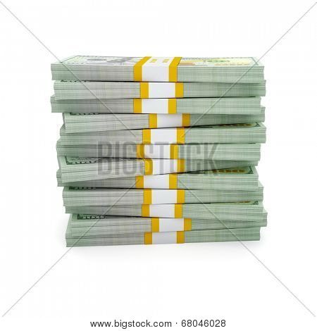 Creative business finance making money concept - stack of new new 100 US dollars 2013 edition banknotes (bills) bundle stack isolated on white background money stack on white