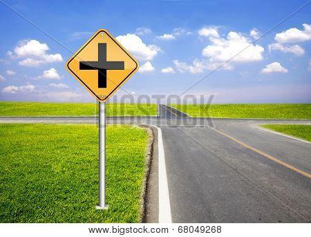 Cross Traffic Sign Pole