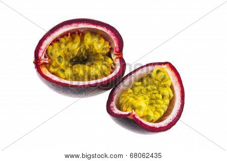 Sliced Passion Fruit Isolated On White Background