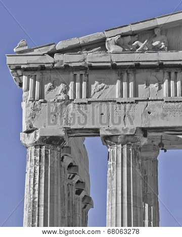 Athens Greece, Parthenon detail in black/white and blue