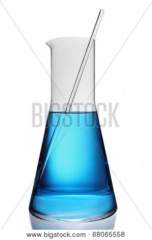 a laboratory flask with a blue liquid and a stirring rod on a white background