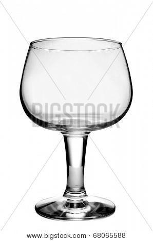 an empty balloon glass on a white background
