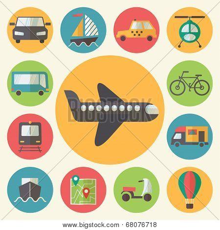 Transportation icons set, flat design vector.