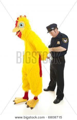 Policeman Arrests Man In Chicken Suit