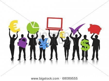 Silhouettes of Business People with Finance Concepts