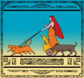art deco style illustration of a Freya Norse goddess of love and beauty riding a chariot pulled by her two cats and wild boar. poster