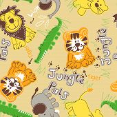 Jungle pals wild animals seamless pattern . poster