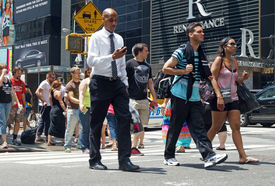 People Crossing the Street in New York City