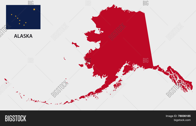 Alaska Map Flag Vector Photo Free Trial Bigstock