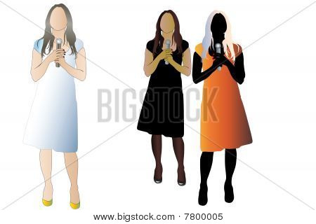Vector illustration of woman with microphone. There are three color version of the image