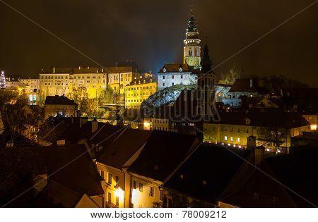 Cesky Krumlov Castle Night View