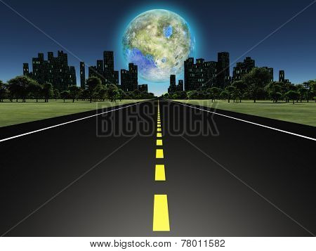 Terraformed moon as seen from highway on future earth Elements of this image furnished by NASA poster