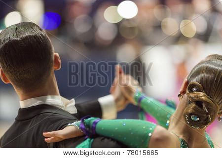 Minsk-belarus, October 5, 2014: Professional Dance Couple Of Alexey Tkachuk And Nadezhda Volui Perfo