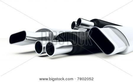 cromo automóvil silenciador