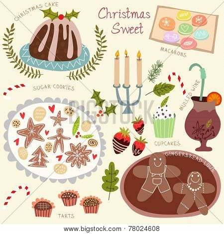 Christmas Sweet Vector Set- Christmas Cake, Macarons, Sugar Cookies, Tarts, Cupcakes And Other.chris