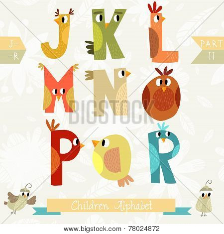 Very Cute Children Alphabet Made Of Characters Birds In Vector . Part Ii. Learn To Read. Isolated.al