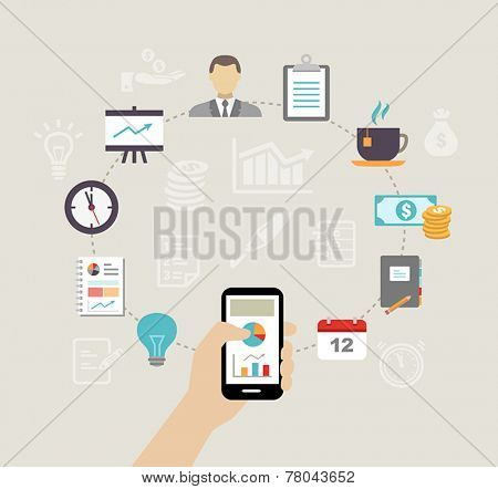 Business background - can be used to illustrate time management, task organization or planning a meeting or team building.