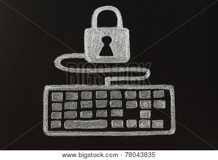 Security concept with chalk lock and keyboard