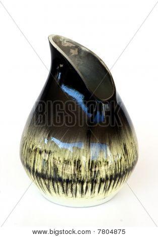 Israeli Asymmetrical Ceramic Vase In Retro Style Isolated On White