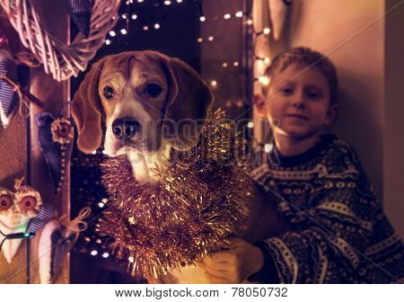 Little Boy With His Dog Sitting On The Decorated Window For Christmass Eve