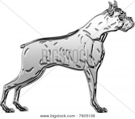 3-D Chrome Illustration of Boxer dog profile. poster