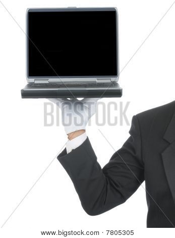 Butler With Laptop On Hand