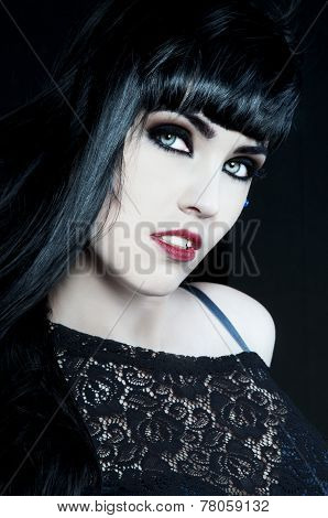 Beautiful Brunette With Dark Makeup