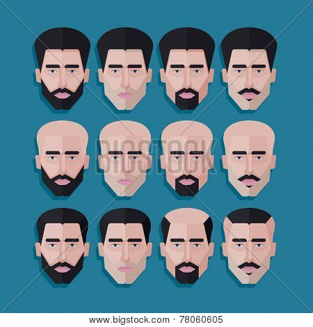 vector set of male faces in flat polygonal style. men hair style icons