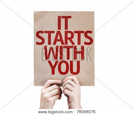 It Starts With You card isolated on white background
