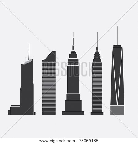 Dec 09, 2014: Collection of Icons of Five Famous Skyscrapers: Bank of America Tower, Citigroup Center, Empire State Building, Chrysler Building, One World Trade Center - For Editorial Use Only