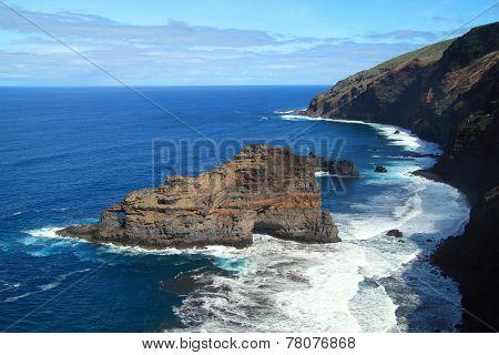 Coastline of a volcanic island
