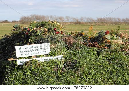 Green Waste At A Village Cemetery In North Germany