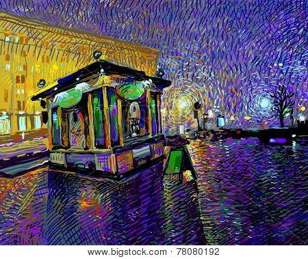 digital painting of night Kyiv city