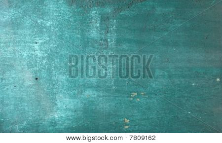 Worn Peeling Blathering Turquoise Paint On Wood