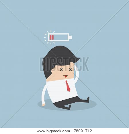 Businessman With Low Battery