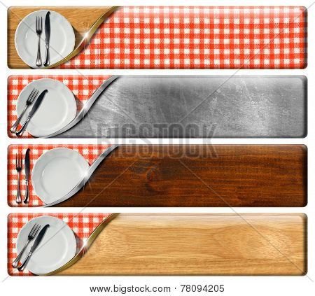 Set Of Kitchen Banners With Clipping Path