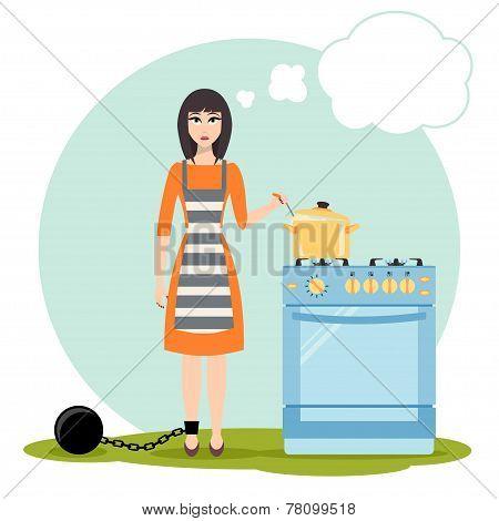 Sad woman dreaming near the kitchen stove