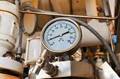 Pressure gauge for measuring pressure in the system, Oil and gas process used pressure gauge to monitor pressure condition inside the system poster