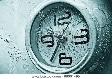 a clock under water / time management / waste time / importance of time / frozen clock