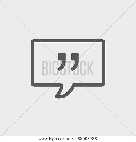Speech bubble with punctuation symbol icon thin line for web and mobile, modern minimalistic flat design. Vector dark grey icon on light grey background.