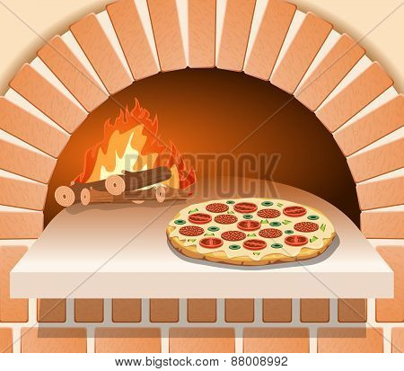 Vector Italian Pizza With Tomato, Sausage And Mushrooms In Front Of The Oven