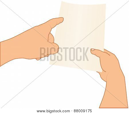 hands holding and pointing to blank paper, vector