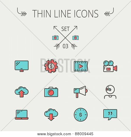Technology thin line icon set for web and mobile. Set includes - laptop, monitor,video camera, megaphone, web camera, gear, camera, clouds up and down. Modern minimalistic flat design. Vector icon